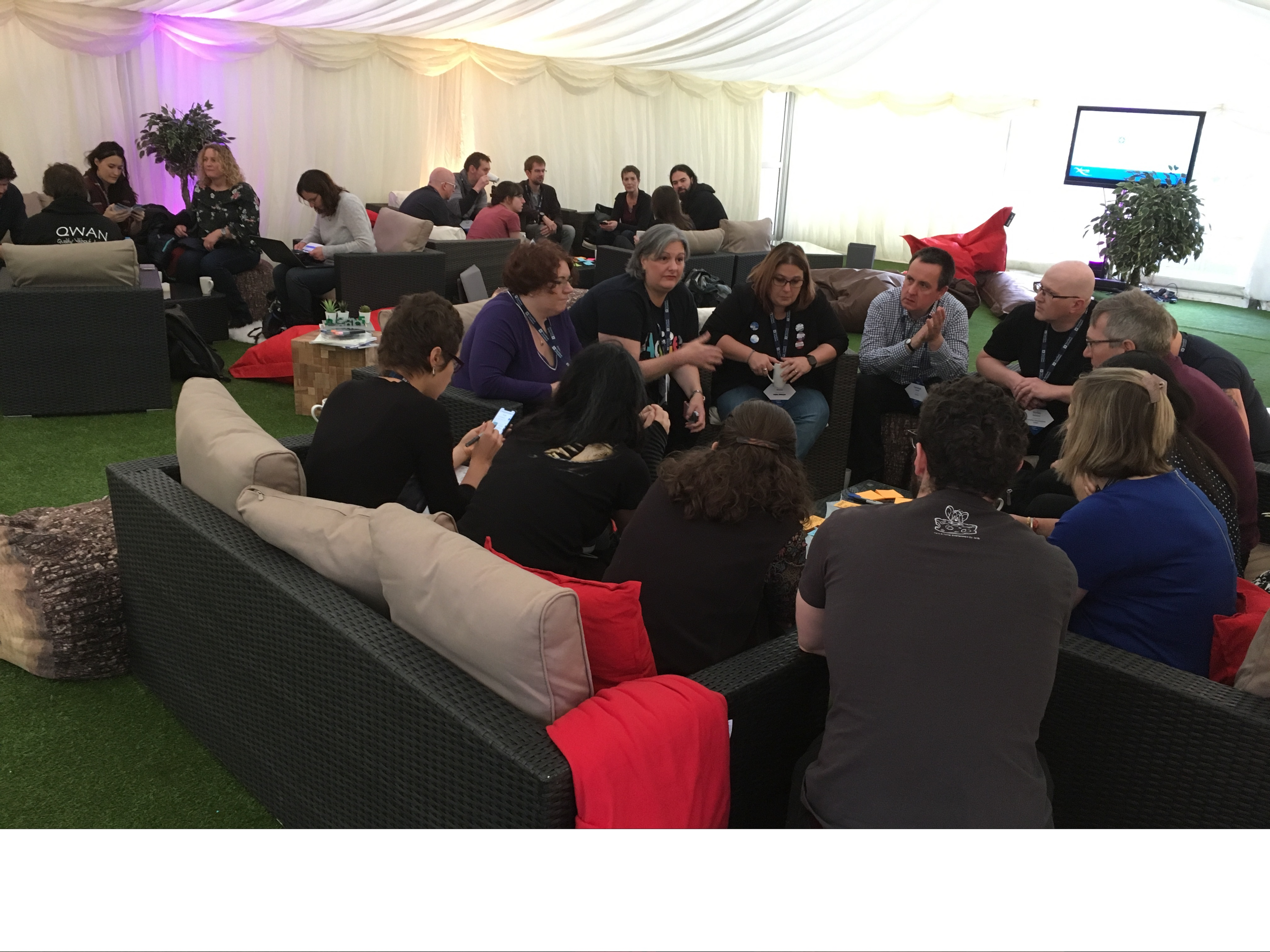 Lean Coffee in the marquee at Lean Agile Scotland 2019